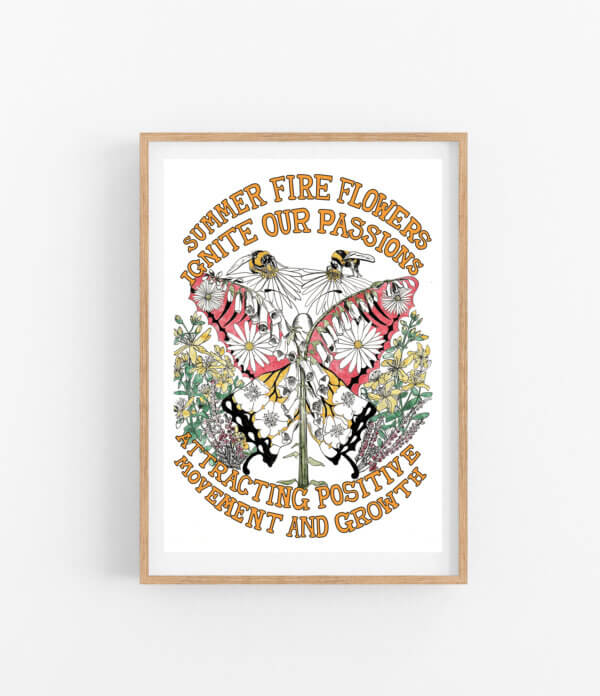 Summer Fire Flowers with mock frame